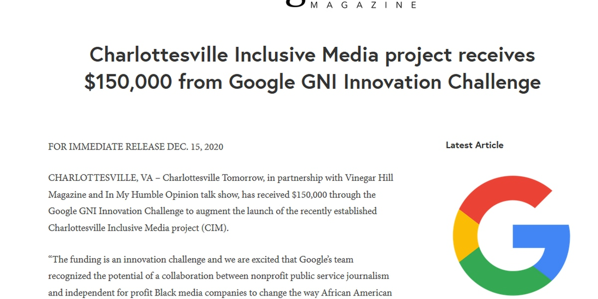Charlottesville Inclusive Media Project receives over $100K from Google