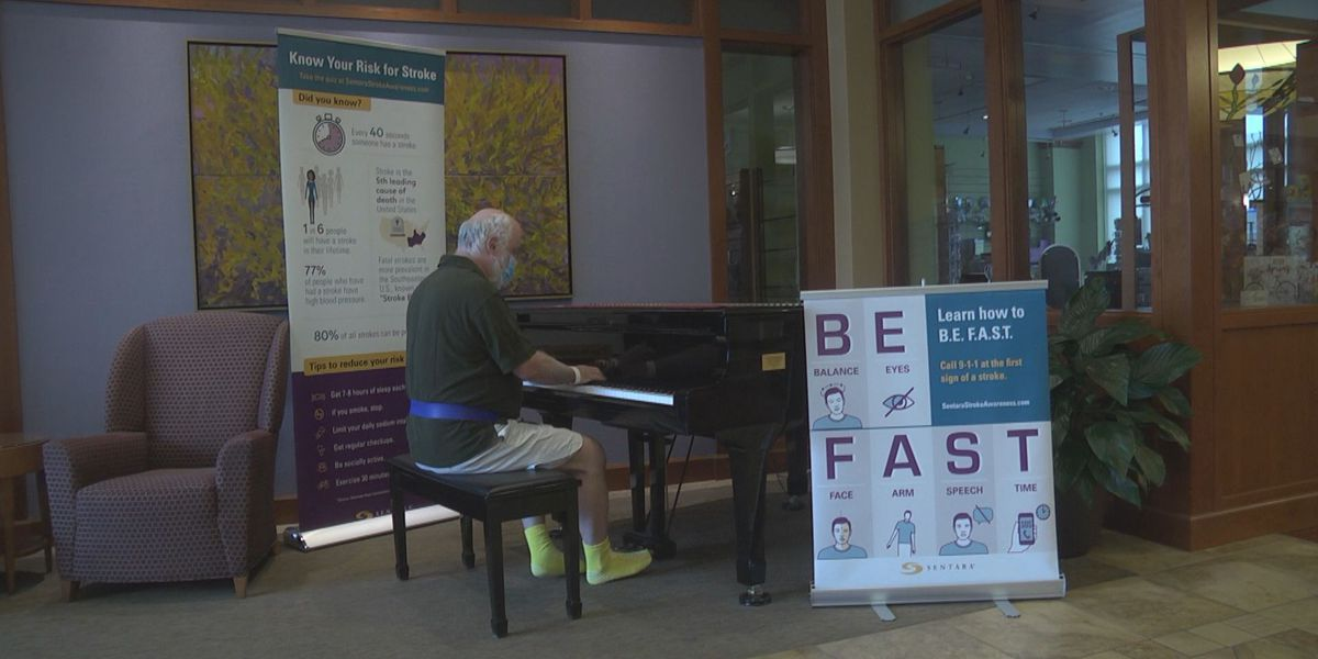 Stroke patient gives piano performance in SMJH lobby as he recovers