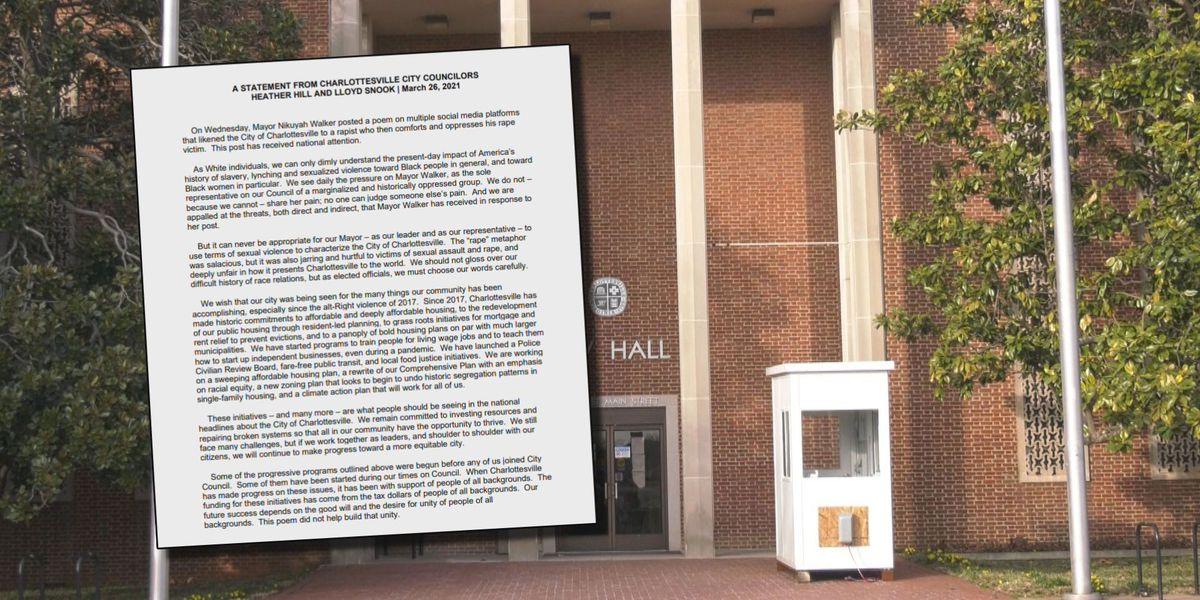 Charlottesville Councilors Hill, Snook respond to Mayor Walker's Facebook poem