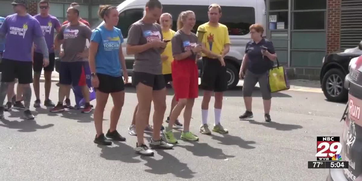 Charlottesville and Albemarle County police participate in Torch Run for Special Olympics