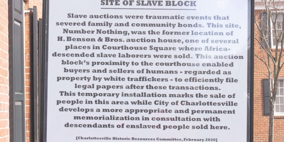 Slave auction memorial marker placed by community members removed by city