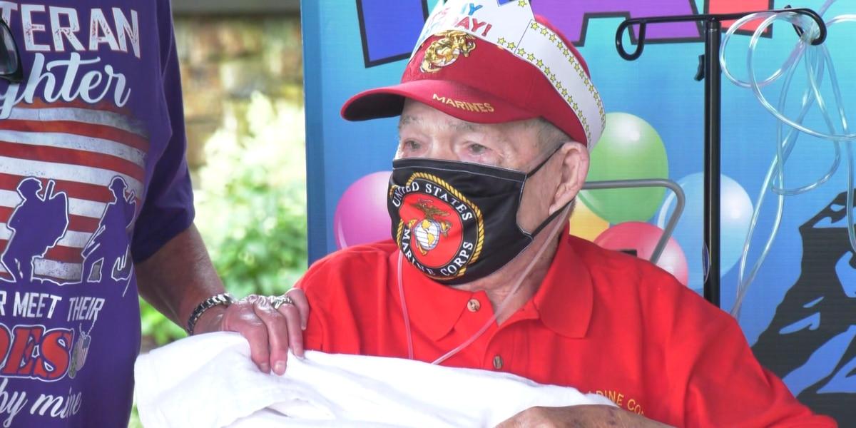 World War II Marine veteran celebrates 100th birthday