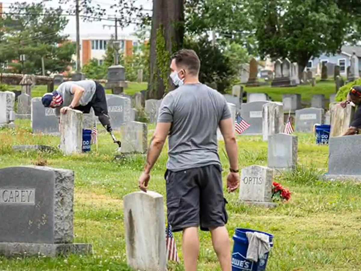 Do Good Cville spends Memorial Day cleaning veteran's headstones
