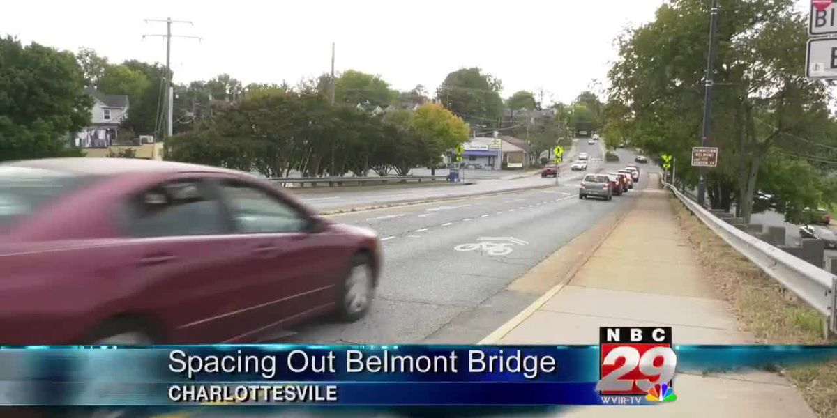 Social distancing measures begin on the Belmont Bridge for bicyclists, pedestrians