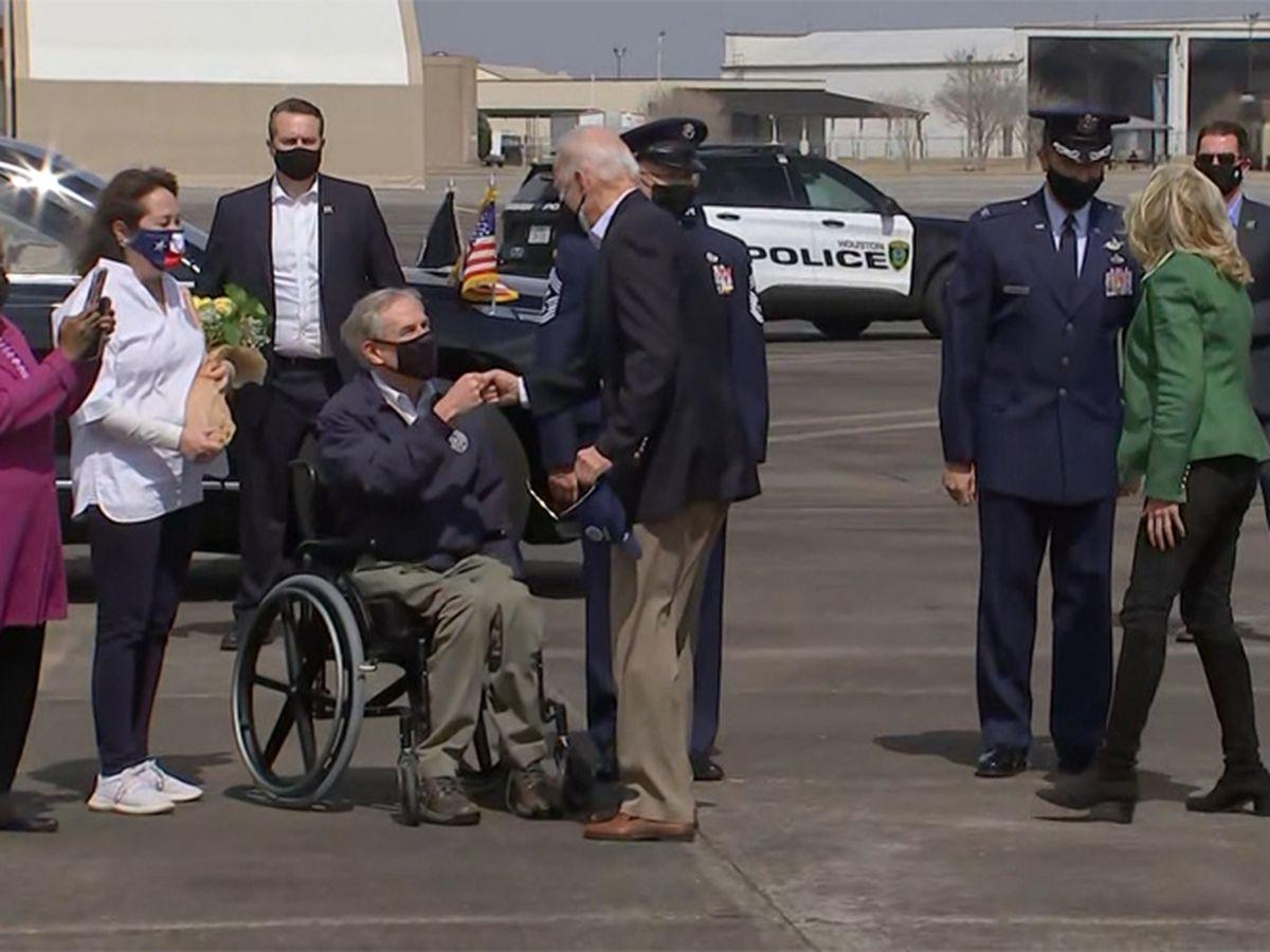 Biden surveys weather harm, encourages virus shots in Texas