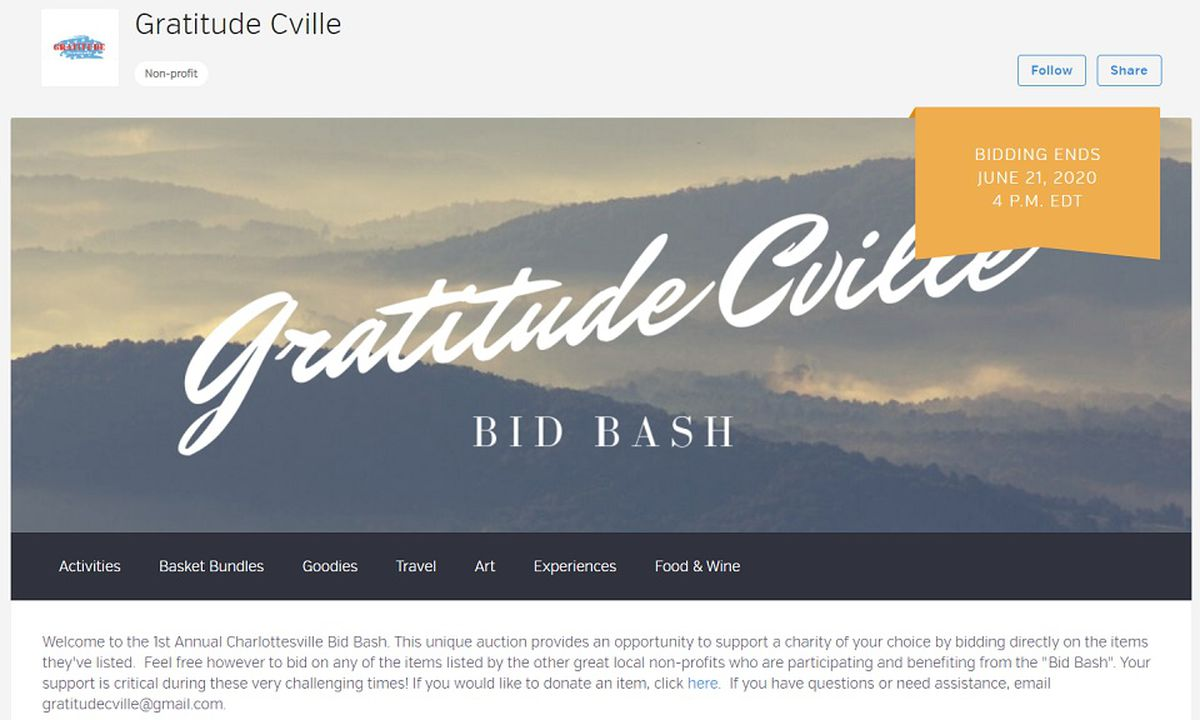 Charlottesville Nonprofit Holding Online Auction To Help Charities And Organizations