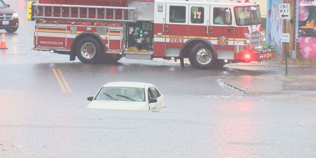 'I'm alive': Man rescued from submerged car after storms cause flash floods in Richmond