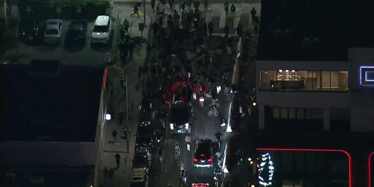 1 hurt, car crashed in fights at Los Angeles protest