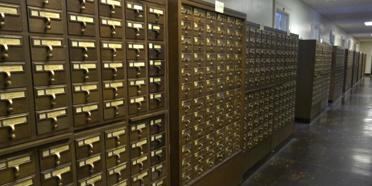2 UVA students rescuing Alderman Library's card catalog