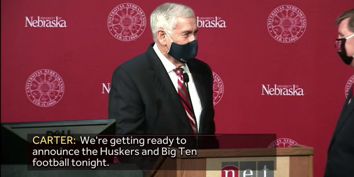 Nebraska University president discussing Big Ten announcement on a hot mic