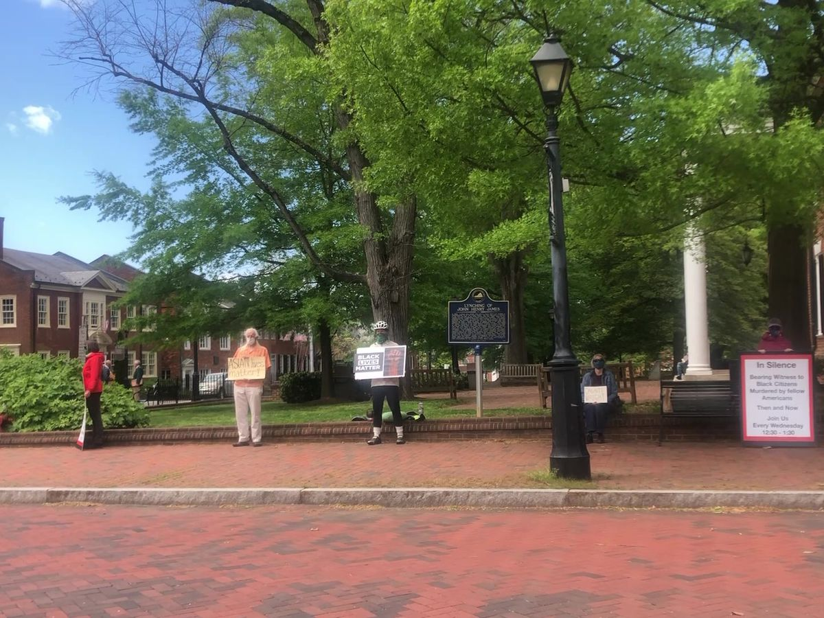 Silent protest held at Court Square in Charlottesville