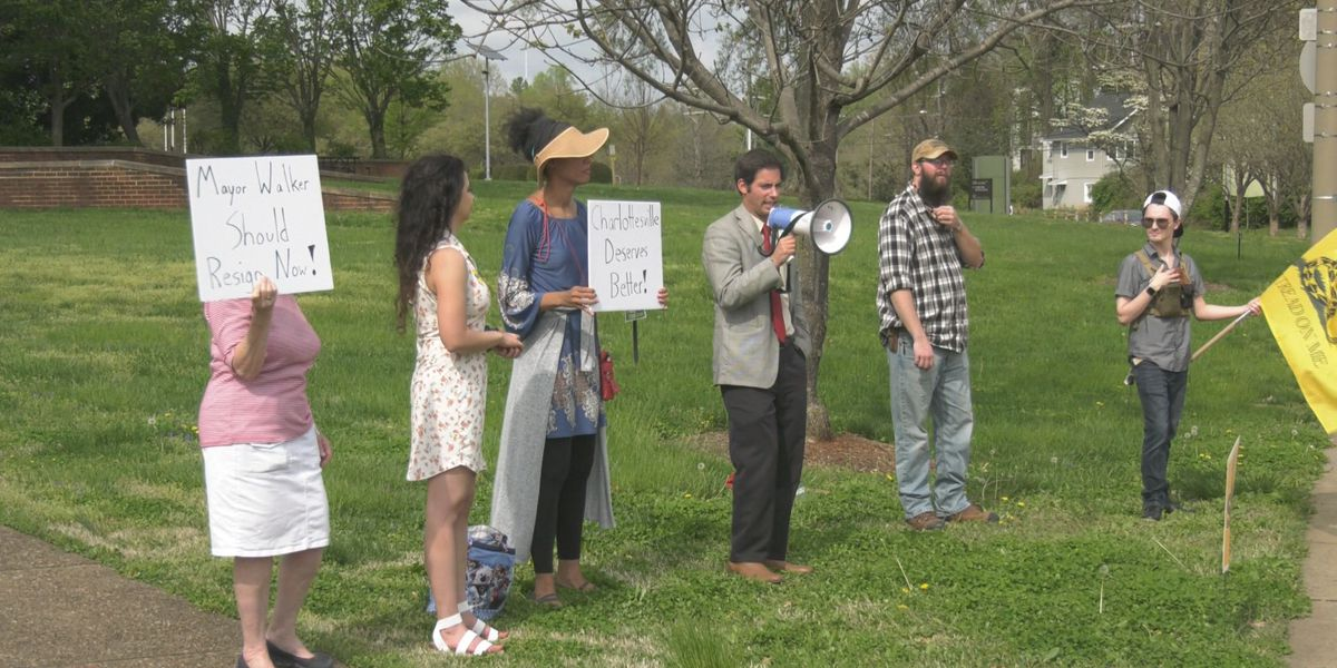 Philip Hamilton holds rally outside Albemarle County Office Building