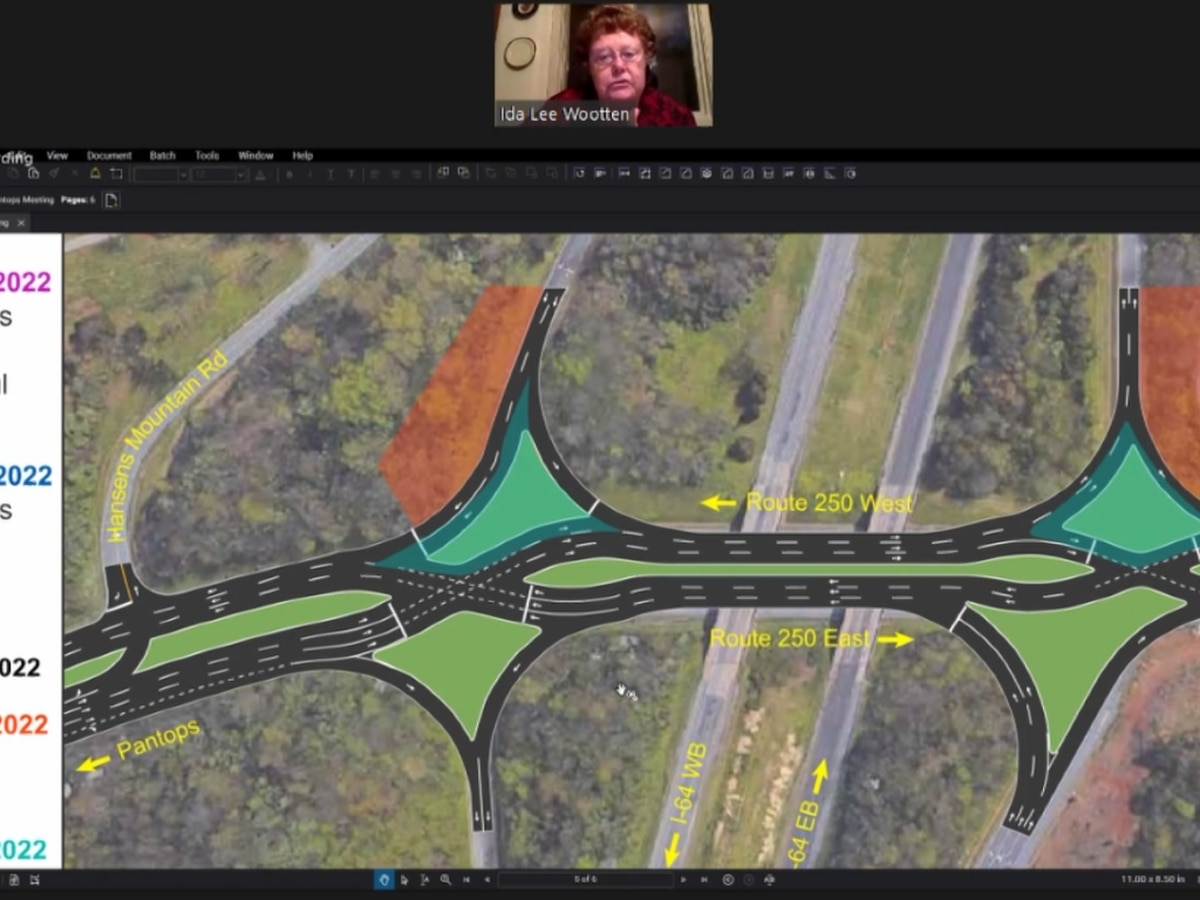 VDOT presents plans for new diverging diamond pattern near I-64 exit 124