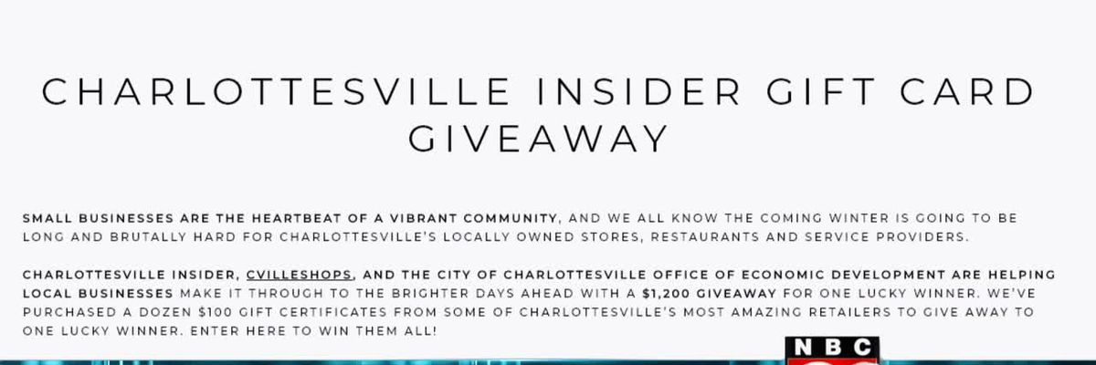 Charlottesville Insider giveaway to help local businesses
