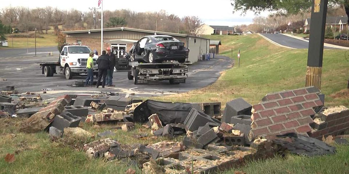 Car crashes through brick sign in Staunton