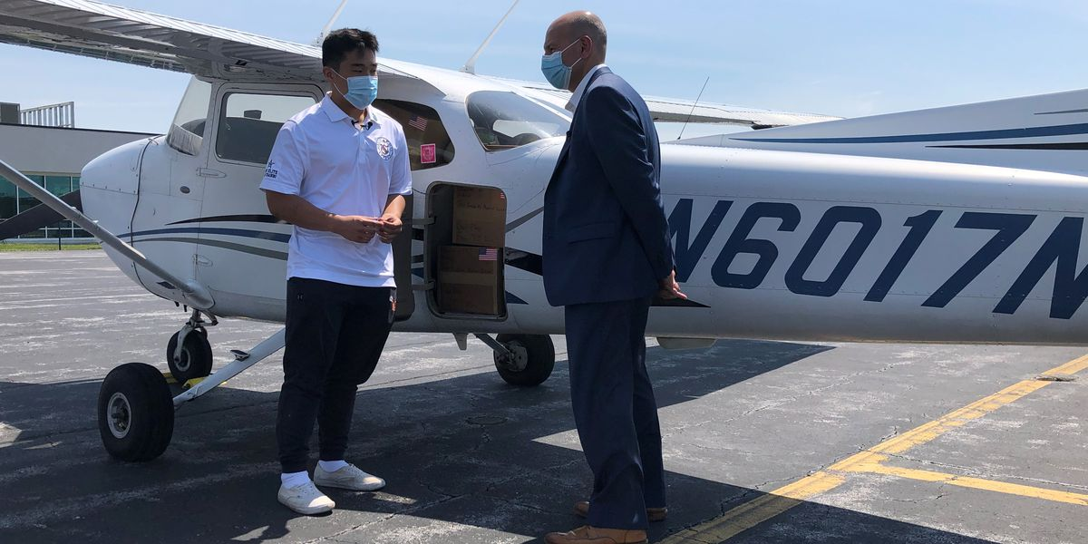 Teenage pilot delivers PPE for local hospital