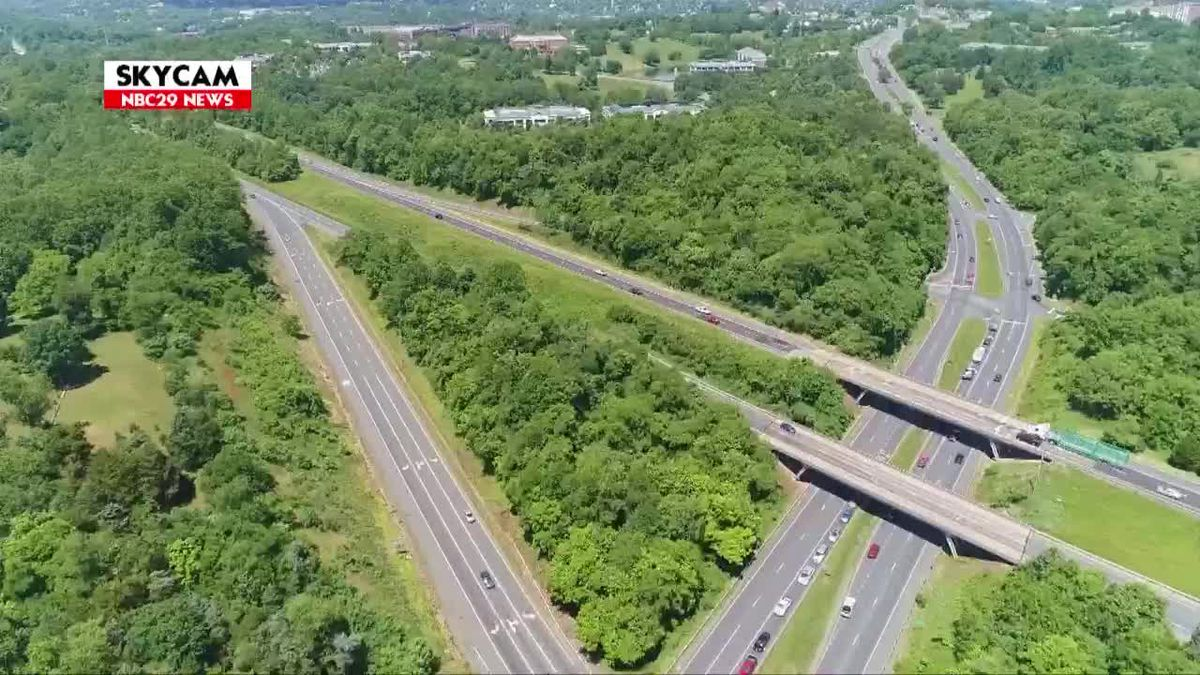 NBC29 Skycam: Route 250 and Interstate 64 Interchange Pantops June 2019