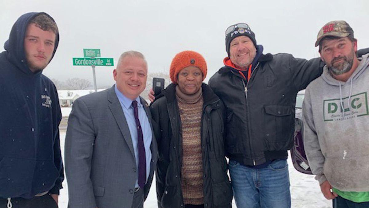 Congressman Denver Riggleman helps car that slid into a ditch during snowstorm