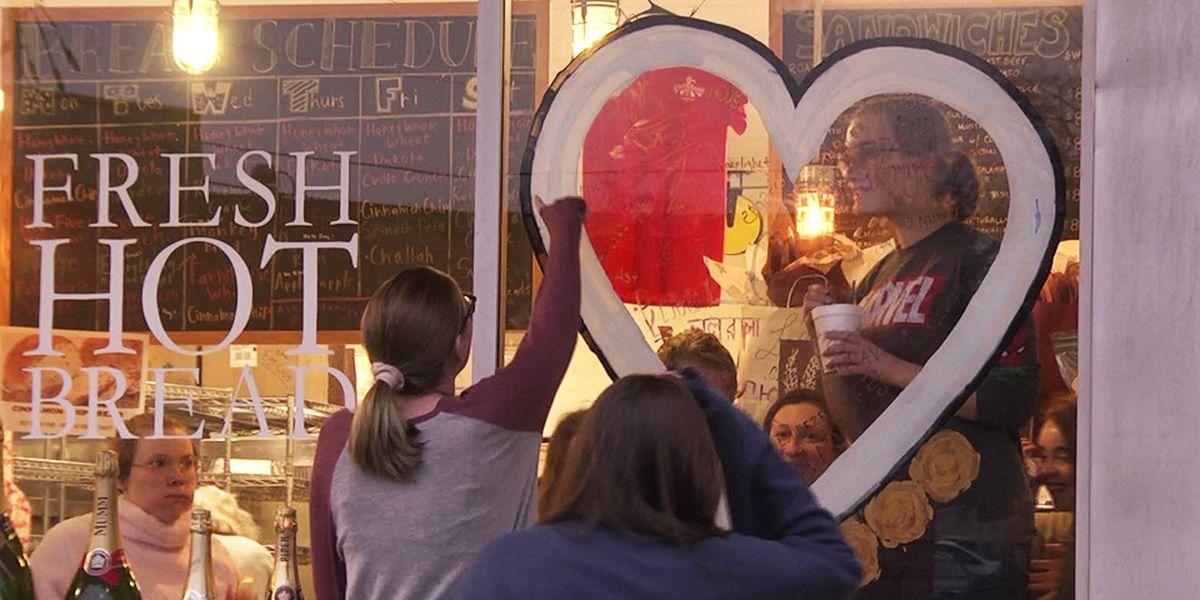 "Bakery windows reflect ""Charlottesville Love"""