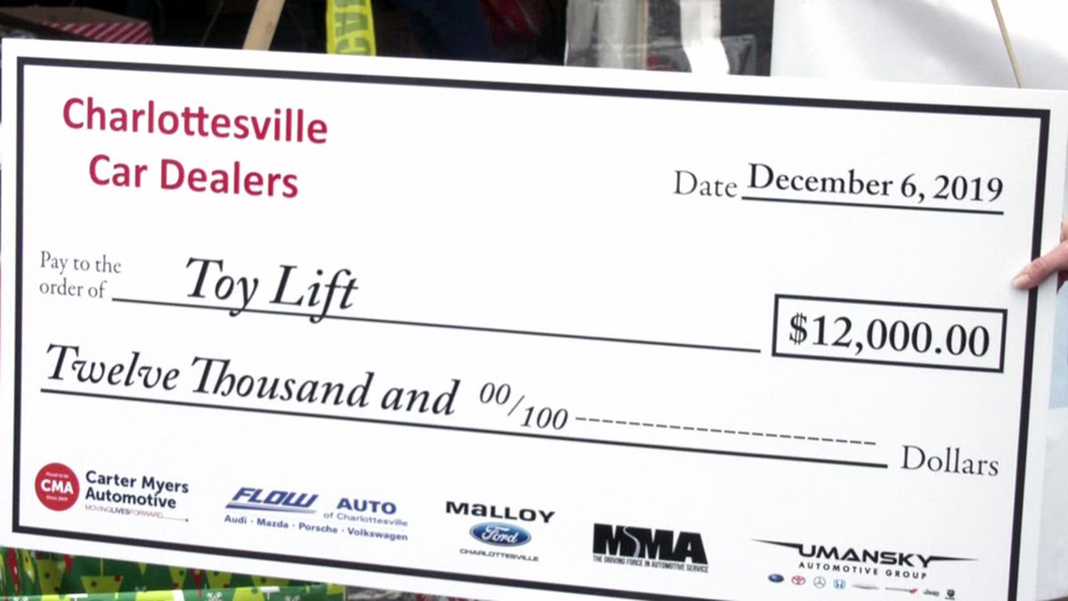 Charlottesville car dealers donate $12,000 to Toy Lift