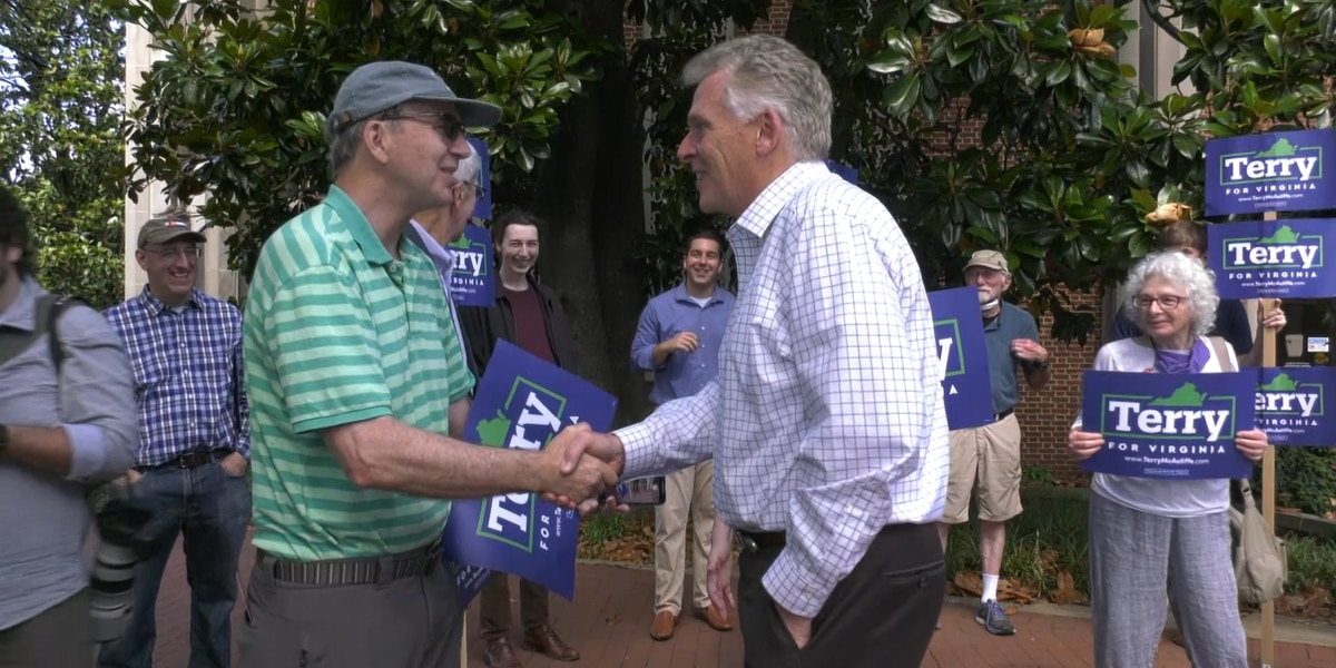 Terry McAuliffe meets with voters in downtown Charlottesville