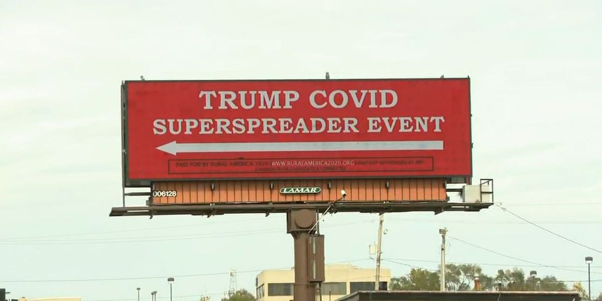 Billboard on route to Trump's Iowa rally states 'COVID superspreader event'