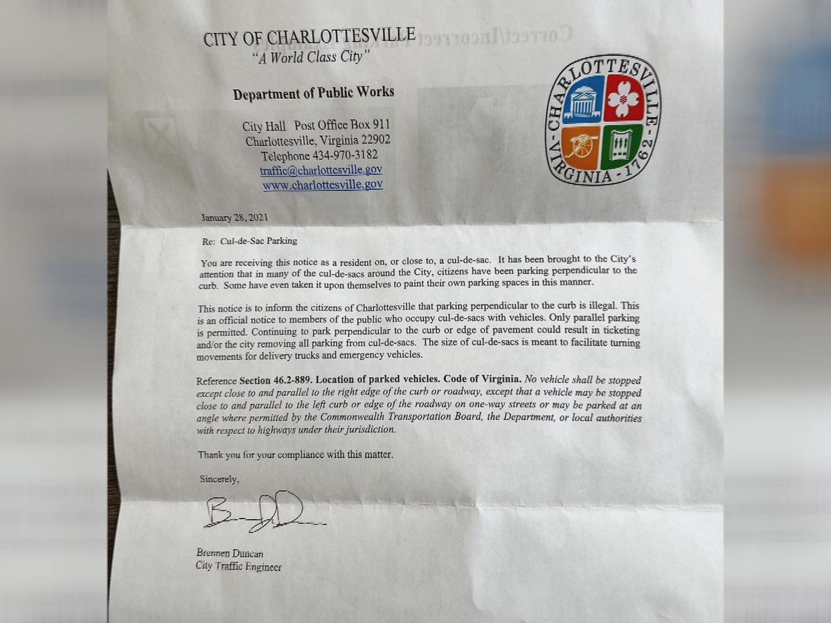Charlottesville sends letters to residents about improper parking in cul-de-sacs