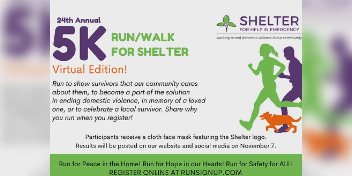 Shelter for Help in Emergency hosting virtual 5K for Domestic Violence Awareness Month