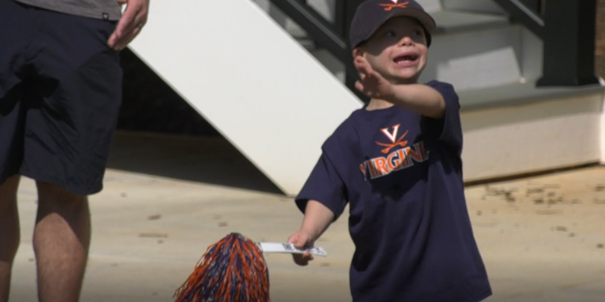 Cav Man pays a special visit to Charlottesville Make-A-Wish kid