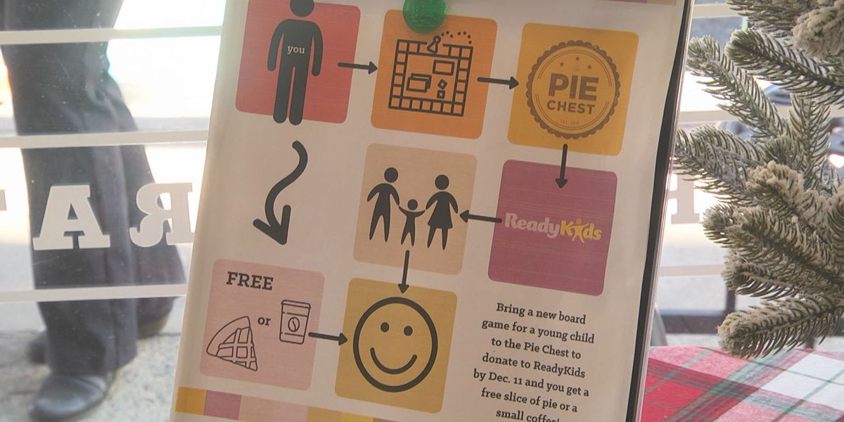 Pie Chest offering free pie slice or coffee for board game donation for ReadyKids