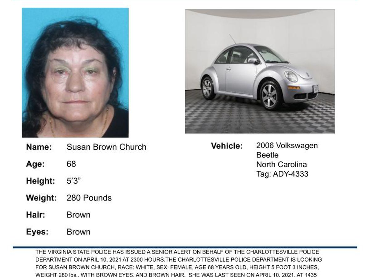 Senior Alert issued for missing Charlottesville woman with cognitive impairment